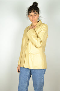 Long Beige Women Leather Jacket S M