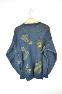 Vintage 80s - Abstract patterns Sweater - Blue/Green - Size M