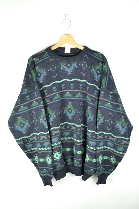 Vintage Patterned Sweater Oversized XXL