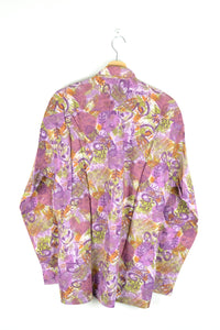 80s Purple Patterned Long Sleeved Shirt Medium M