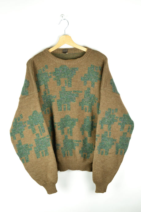 80s vintage Patterned Brown Green Sweater L