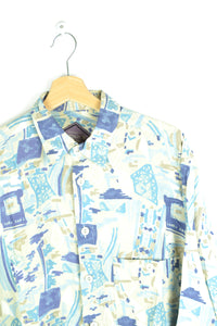 Long 80s Printed Summer Shirt Medium M