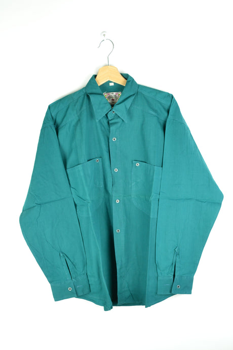 80s long sleeved plain Turquoise Shirt Medium M