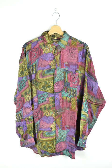 Iridescent Colorful 80s Long Sleeved Shirt M L