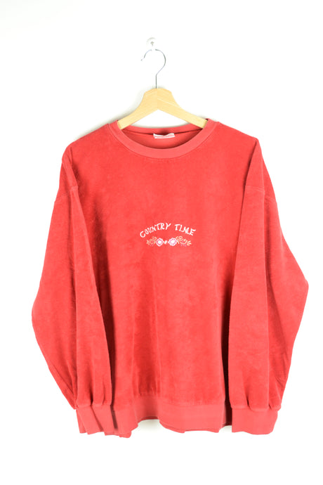 90s Red Sponge Sweatshirt Large L