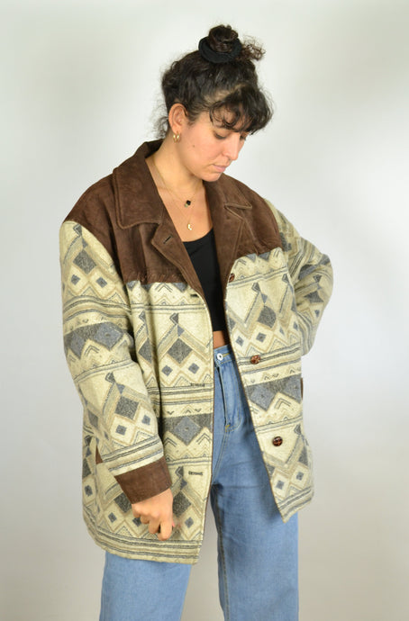 80s Aztec Wool Leather Jacket Large L