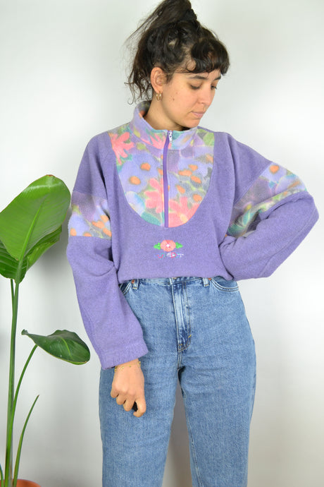 Pastel Purple Fleece Sweater Large L XL