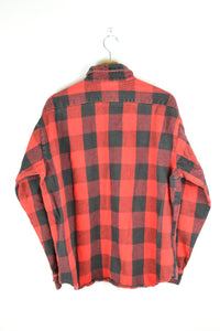Classic Red/Black Checkered Flannel Shirt Large L