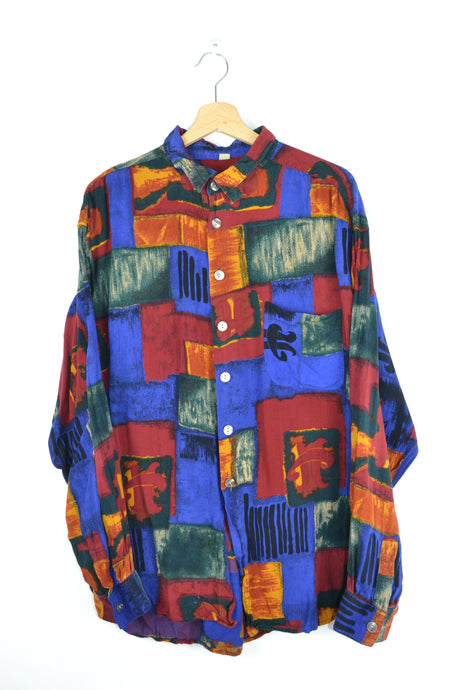 80s long sleeves patterned shirt