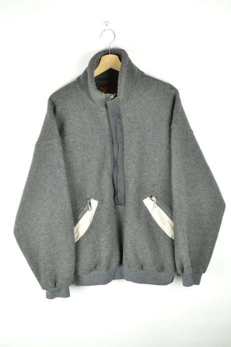 Grey Half zip Fleece Sweater Large L