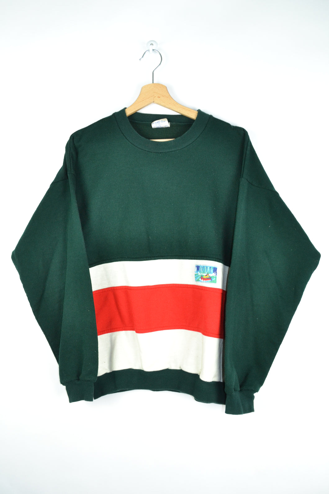 80s green/white Sweatshirt Large L
