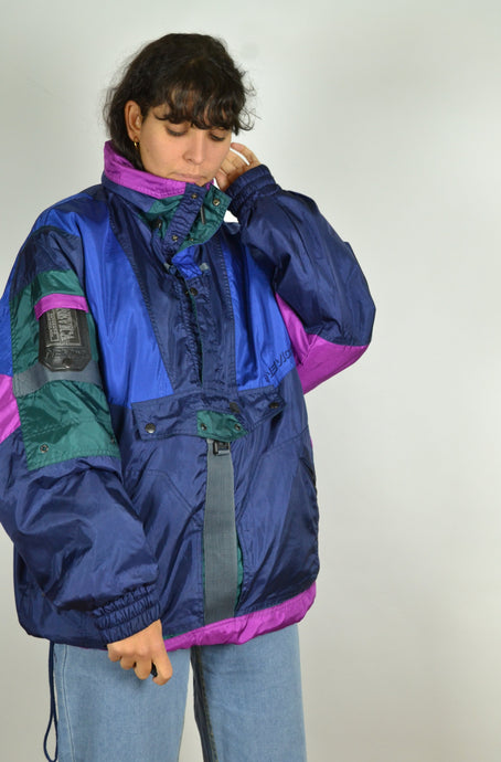 80s Half Zip Color Block Ski Jacket Large L