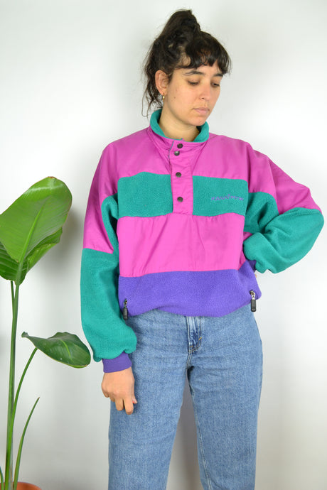 80s Neon Fleece Sweater L XL