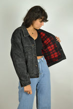 Load image into Gallery viewer, 80s 90s Black/Grey Lined Denim Jacket Small S