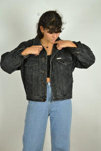 80s 90s Black/Grey Lined Denim Jacket Small S