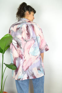 Pastel marble Print Oversized Summer shirt XL