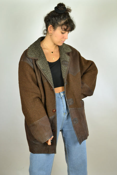 80s Long Winter Brown Leather Jacket Large XL