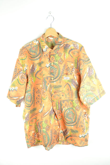 80s Neon Orange Printed Summer Shirt XL