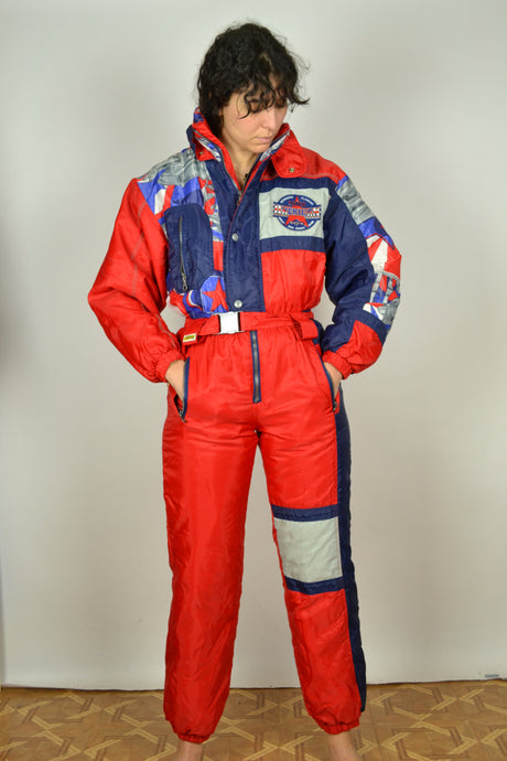 Vintage 90s - America One Piece Red Ski Suit - Size S