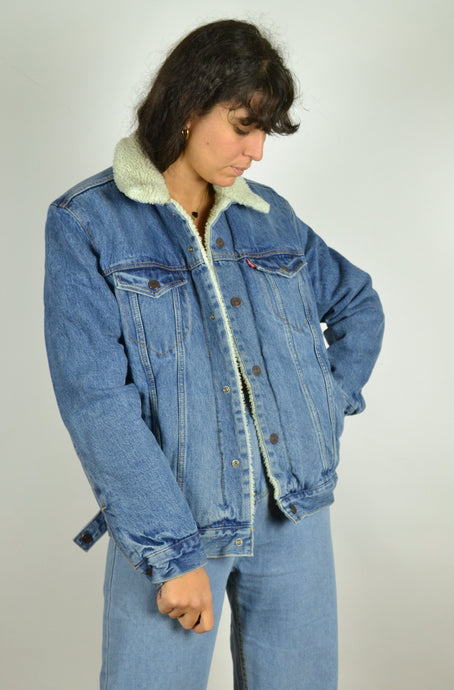 90s Lined Levi's Denim bomber Jacket Medium M