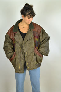 80s Barbour Style Bomber Jacket Oversized 3XL