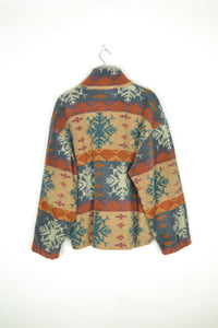 Vintage 90s - Chunky Patterned Fleece Jacket - Size L
