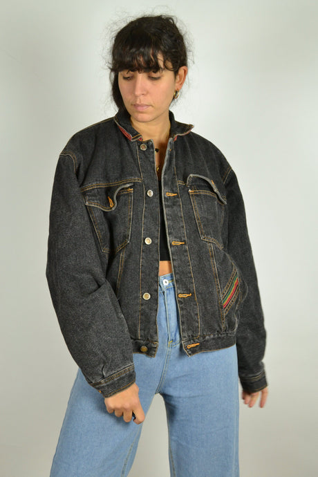 80s Padded Black Denim Jacket Medium M
