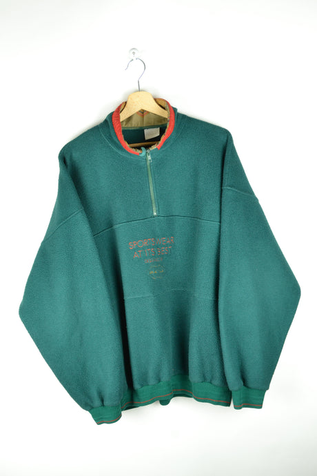 80s Oversized Green Fleece Sweater XL