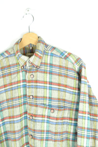 Color Striped Flannel Shirt Medium M