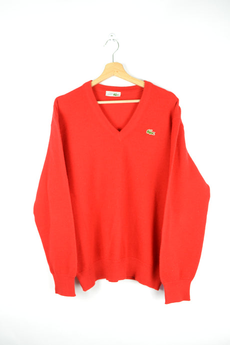 Lacoste Red Sweater V-Collared Medium M