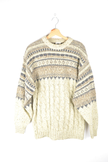 Classic Vintage Winter Sweater Beige/Brown Medium M