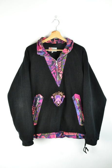 80s Black Neon Pink Fleece Oversized XL