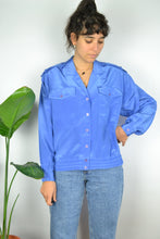Load image into Gallery viewer, 80s Iridescent Blue Women Summer shirt L