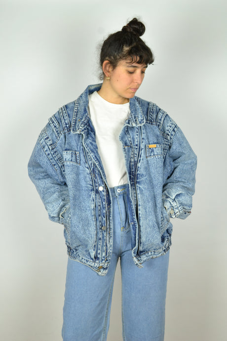 80s Washed out thick denim Bomber Jacket XL