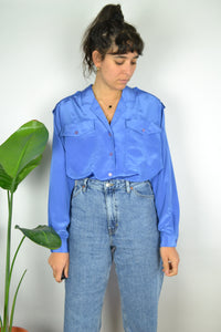 80s Iridescent Blue Women Summer shirt L