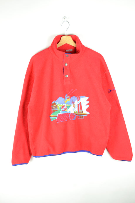 Vintage 90s - Sergio Tacchini Red Cropped Fleece - Size M