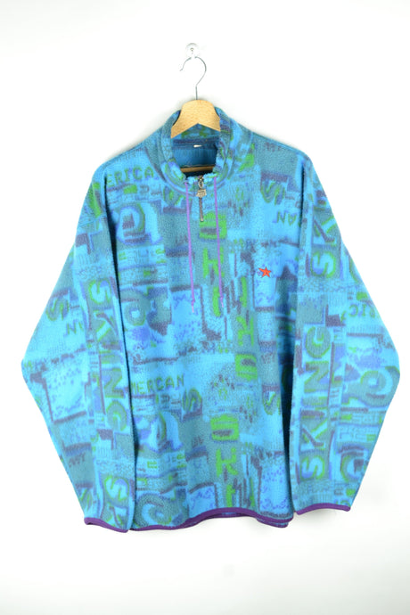 80s Blue/Green Oversized Fleece Sweater XL