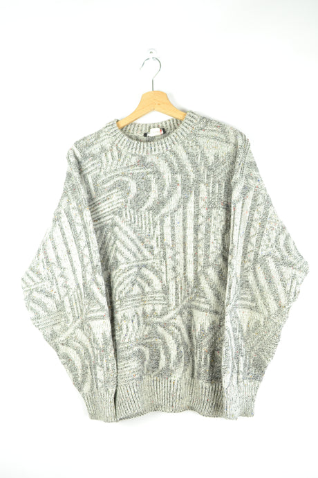 80s Abstract patterned Gray/White Sweater Medium M
