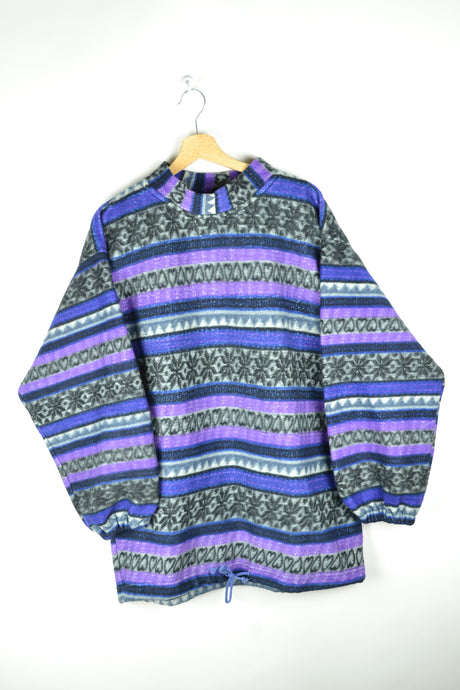 Vintage 80s - Patterned Purple Fleece Sweater - Size M L