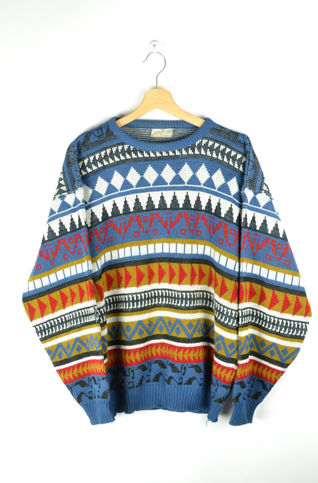 Abstract Patterned Colorful Sweater M L