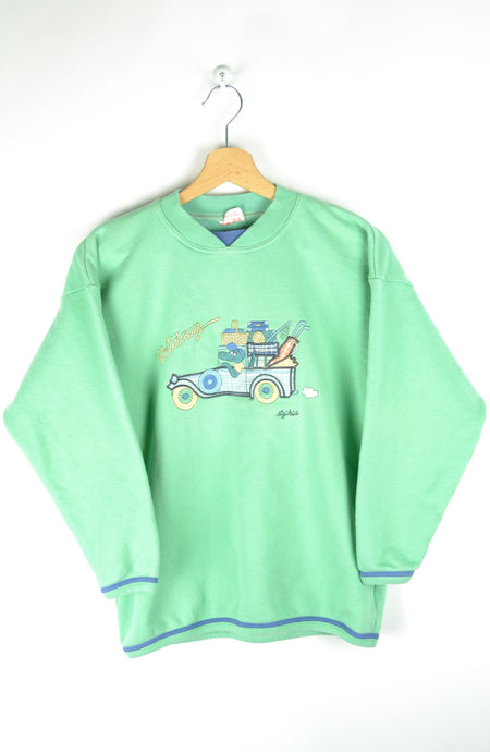 90s Cute Pastel Green Crewneck Small S XS