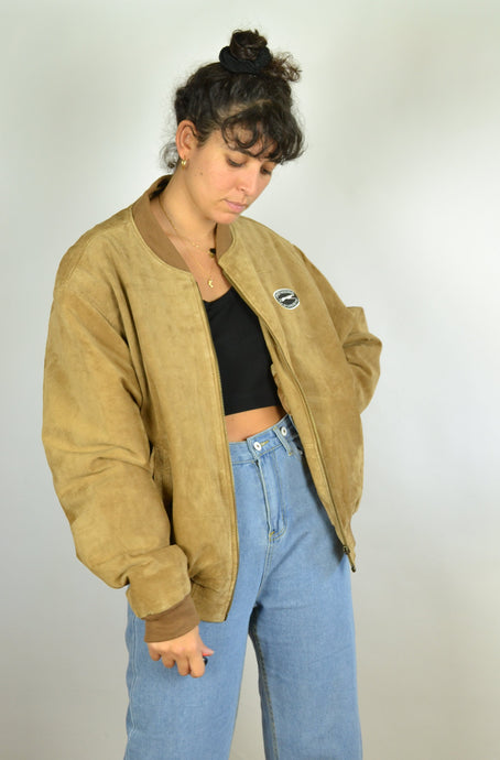 80s Zipped Suede Bomber Jacket Greyhound Large L