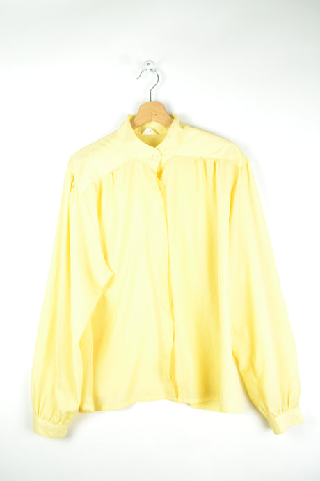 Pastel Yellow Long Sleeved Blouse Large L