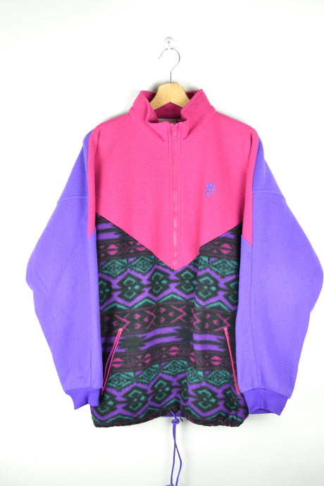 Vintage 80s - Color block Fleece Sweater - Size L/XL