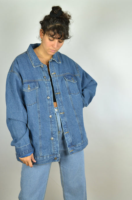90 Padded Winter Denim Jacket Oversized 3XL