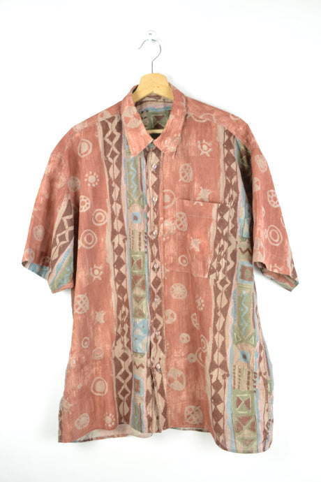 80s printed Summer Shirt L XL