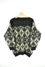 Load image into Gallery viewer, Vintage 70s/80s - Black & White Boat Neck Sweater - Size M/L