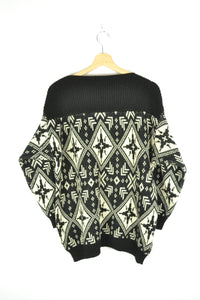 Vintage 70s/80s - Black & White Boat Neck Sweater - Size M/L