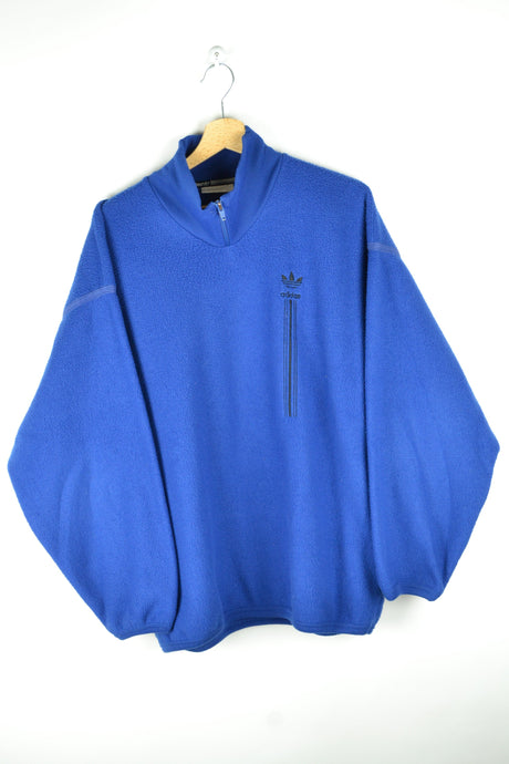90S Y2K Electric Blue Adidas Fleece Oversized Large L