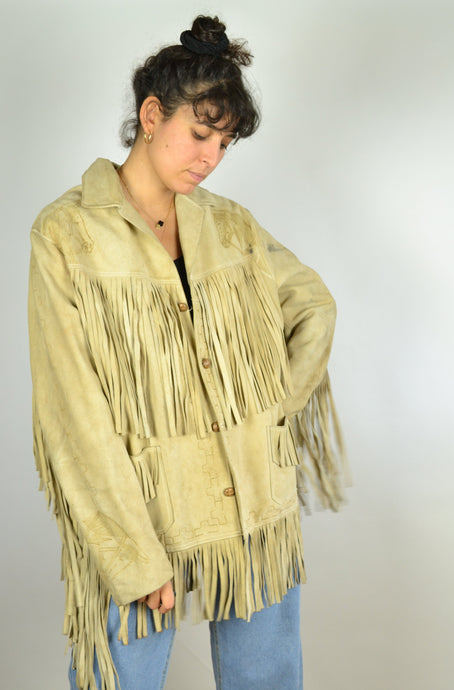 RARE 70s or 90s Fringe Suede Jacket Boho Hippie Medium M L